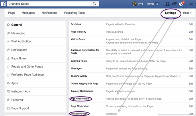 Facebook Page General Settings for Age Restriction