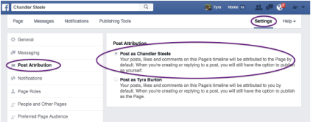 Facebook setting for post attribution