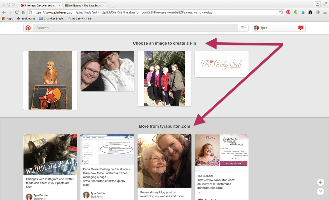 How to pin on Pinterest with a URL. www.tyraburton.com/the-geeky-side/